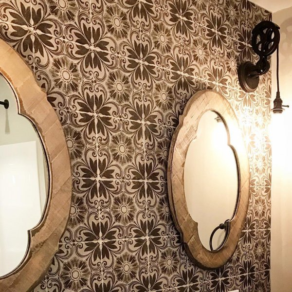 Rustic Mirrors On Patterned Tiles