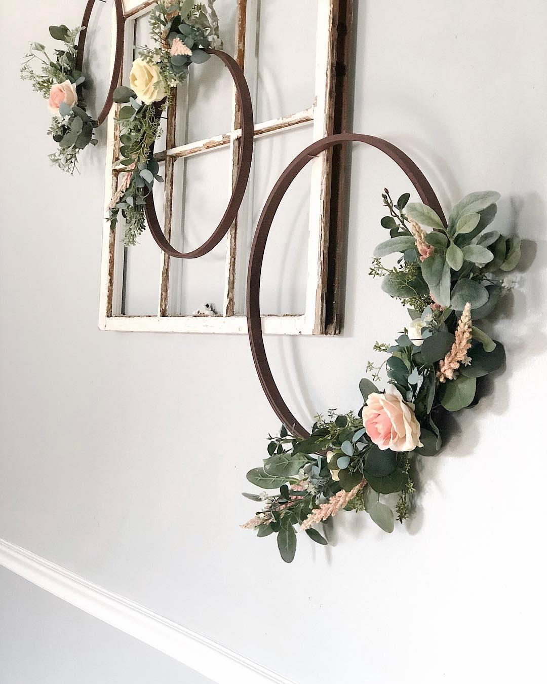 Shabby Chic Fresh Flower Front Door Decor