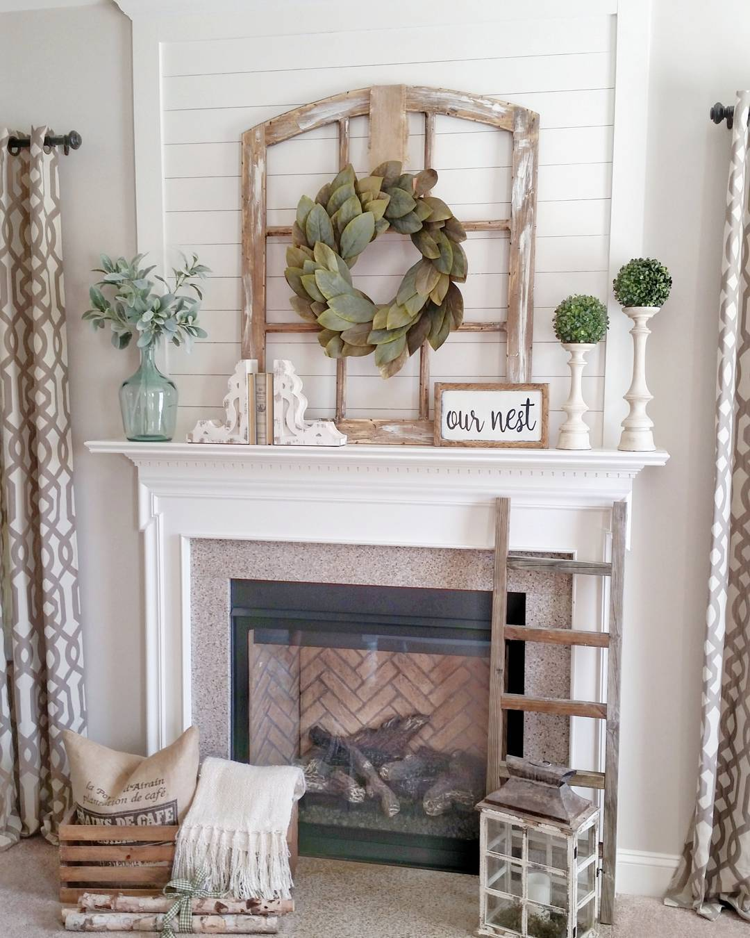 Simple Mantel Decor For Summer With Greenery