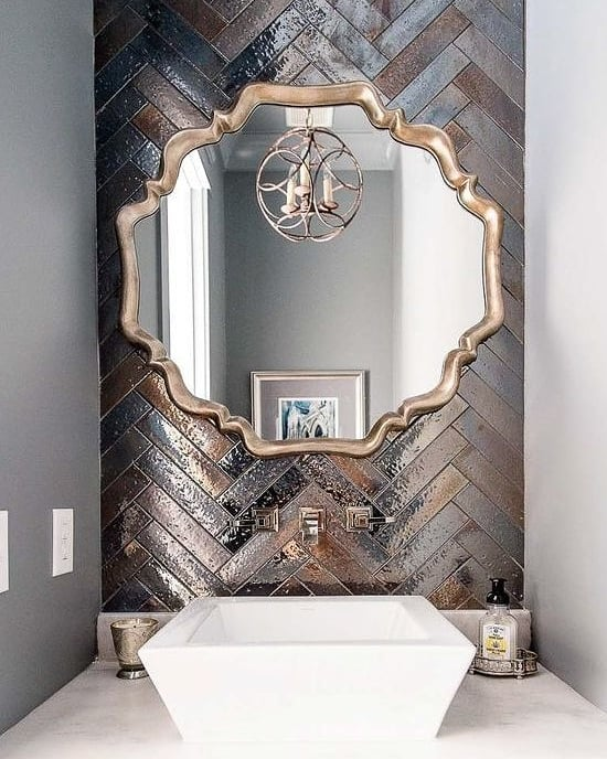 Stylish Metallic Bathroom Mirror