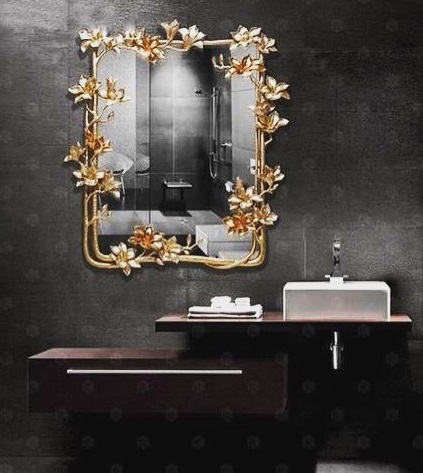Stylish Rectangular Mirror With Flower Designs