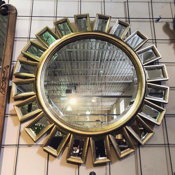 Sun Shape Gold Wall Mirror
