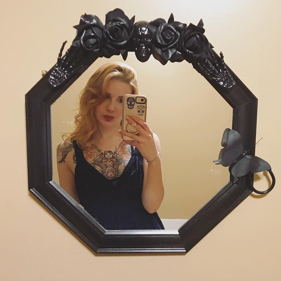 Swanky Handmade Mirror With Roses, Spiders, Guns, Skull And Bats
