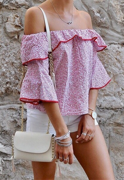 Swanky Off Shoulder Ruffle Top With White Shorts And Cross Body Bag