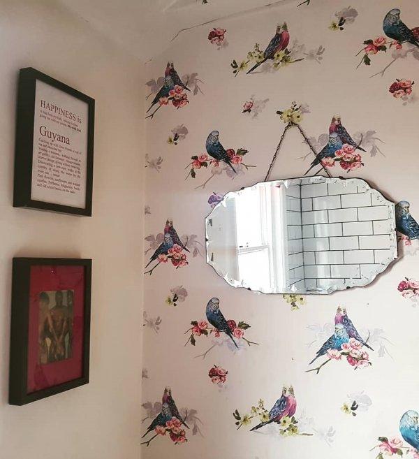Vintage Style Bathroom Mirror On Bird Print Wall Paper