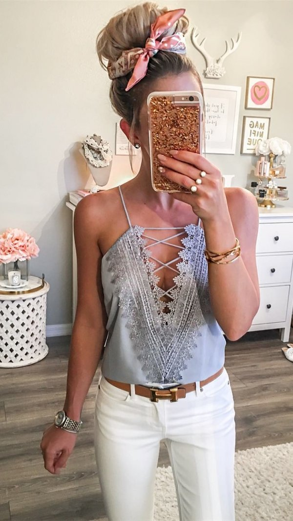 Adorable Gray Cami Top Paired With White Jeans