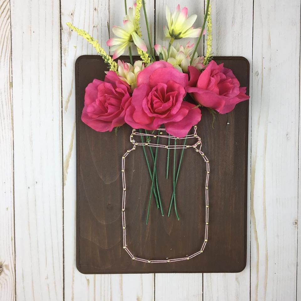 Adorable String Used As Vase With Beautiful Flowers