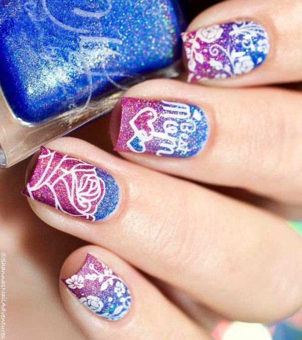 Alluring Glittery Pink And Blue Nails For Best Mom