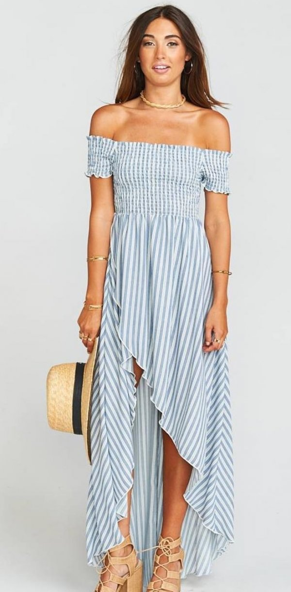 Asymmetric Maxi Dress With High Heels And Hat