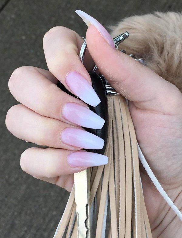 04 Awesome Pink And White Coffin Shape Ombre Nails Via