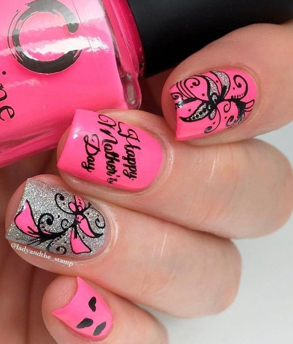 Awesome Pink Nails With Butterfly