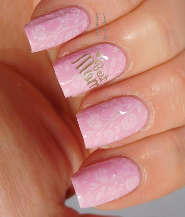 Baby Pink Floral Square Nails
