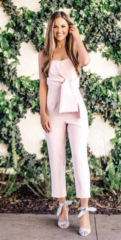 Baby Pink Off Shoulder Jumpsuit And High Heels