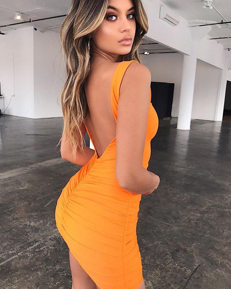 Backless Mustard Yellow Dress