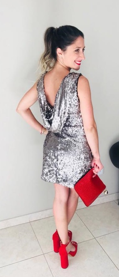 Backless Silver Sequin Party Dress With Red Purse And Block Heels