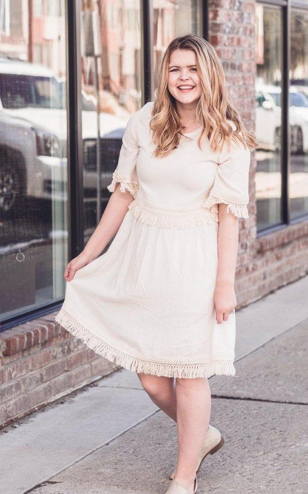 Beige Plus Size Fringe Dress For Curvy Women