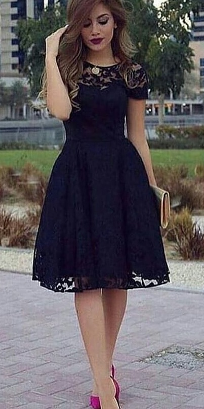 Black A-Line Lace Dress