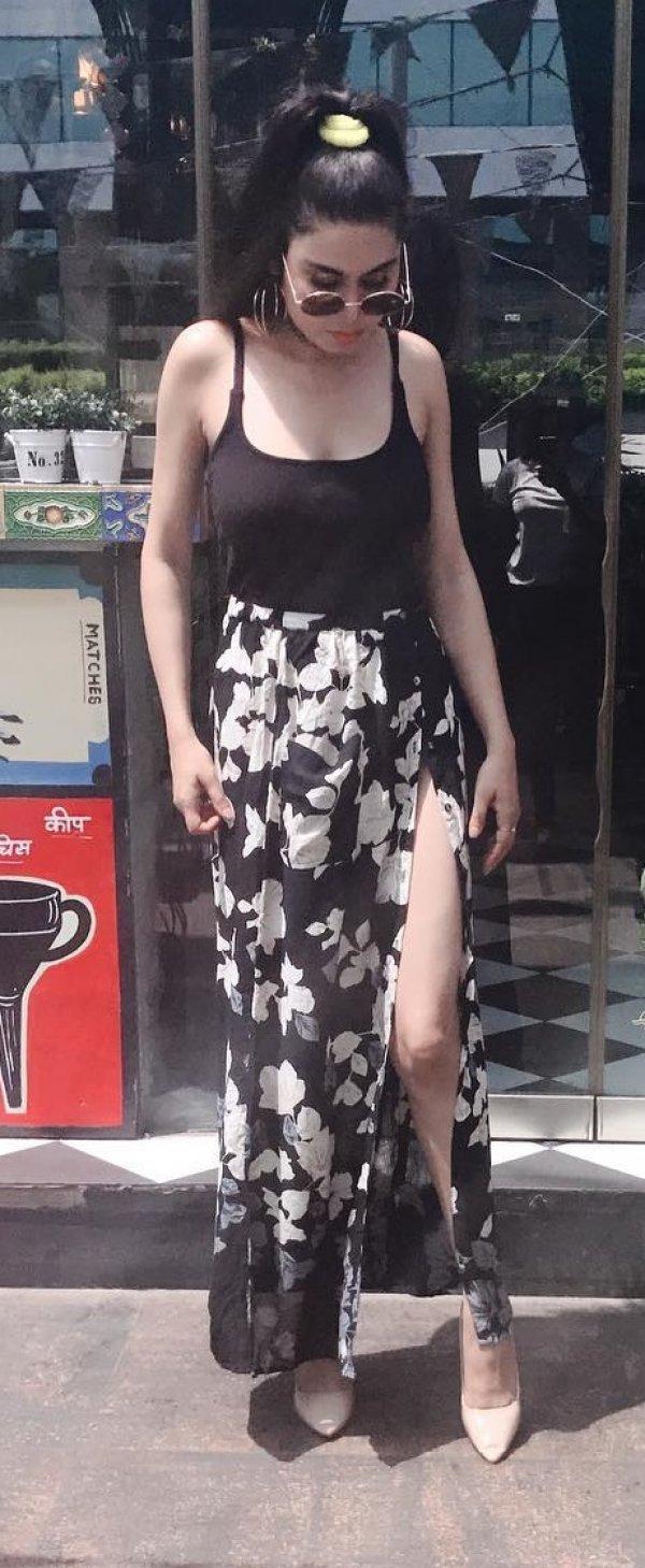 Black Floral Side Slit Skirt And Tank Top