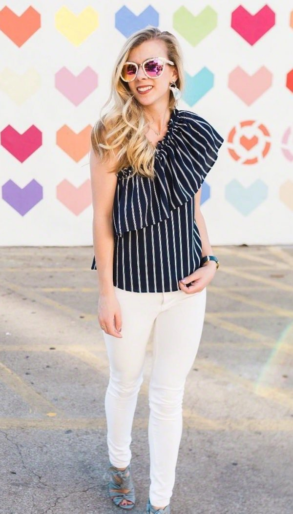 Black Stripes One Shoulder Ruffle Top Paired With White Jeans And High Heels