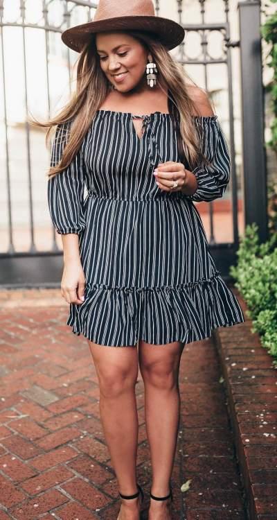 Black & White Stripes Off Shoulder Short Dress