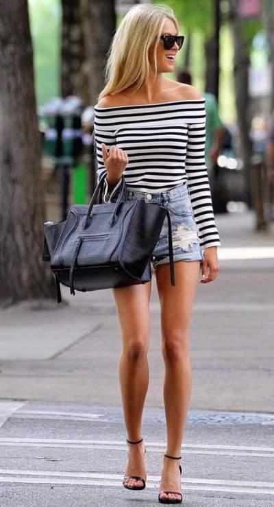Black & White Stripes Off Shoulder Stripes Top, Denim Short, High Heels and Handbag Is Perfect Street Style Summer Wear