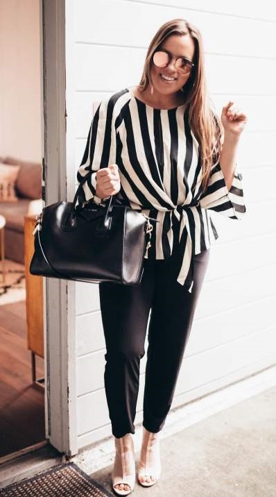 Black & White Stripes Top With Trouser, Beige Heels And Black Handbag