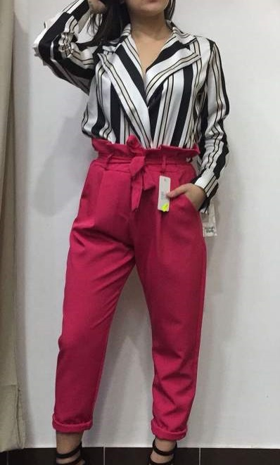 Black & White Stripes satin Wrap Top And Bright Pink Trouser