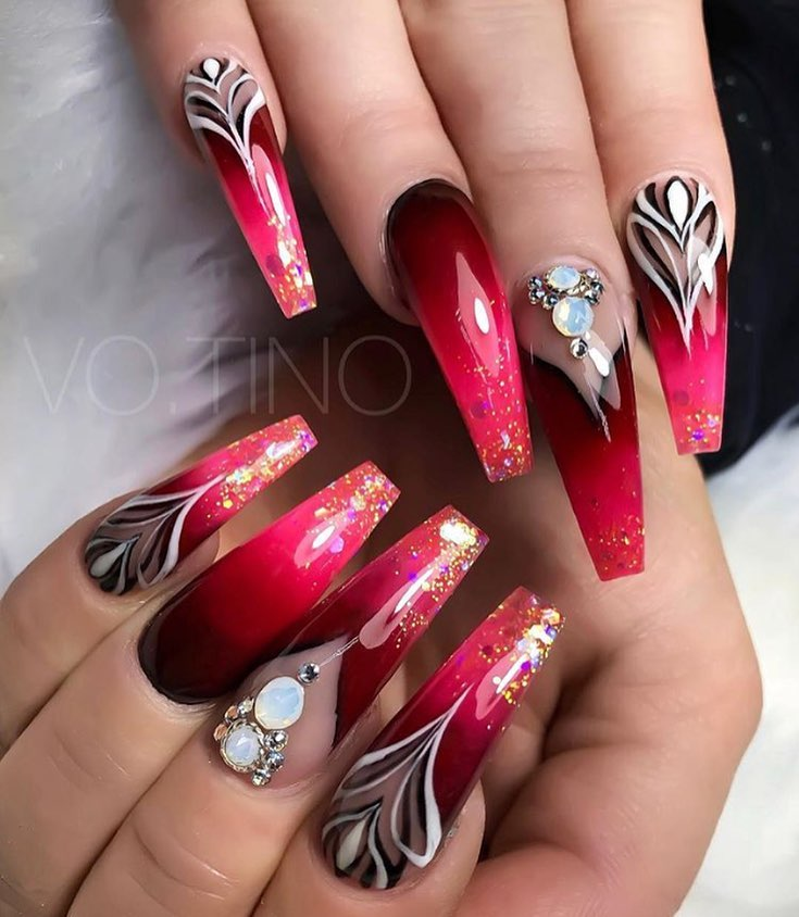 Ombre Nails Red And White