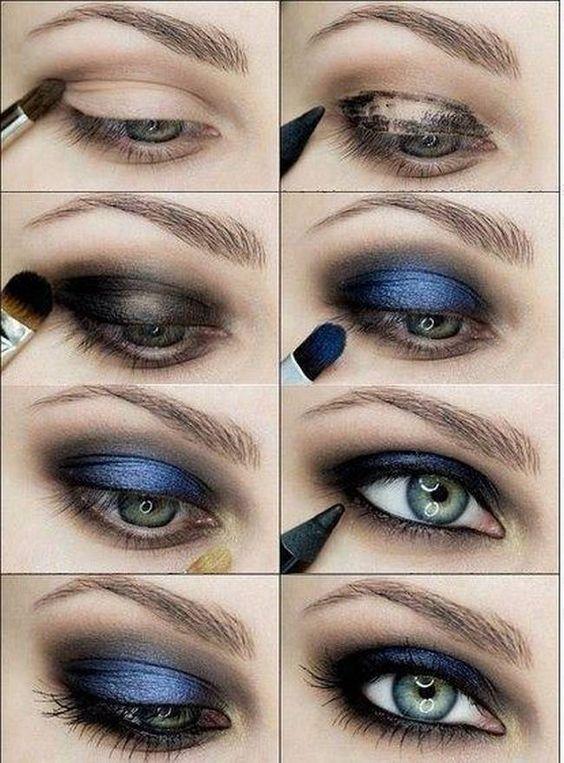 Blue And Black Smokey Eyes