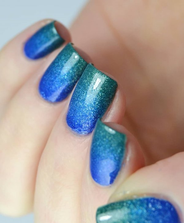 Blue And Green Square Nails