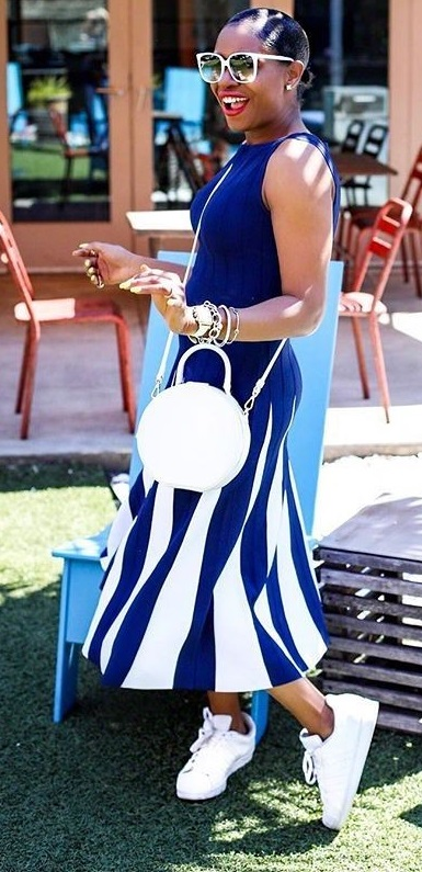 Blue And White Stripes Dress, White Sneakers And Bag