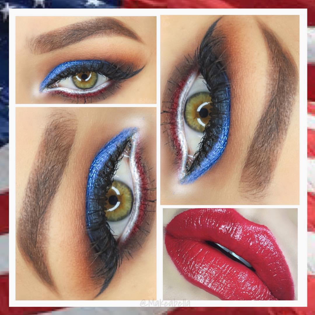 Blue Eyeliner With Red Hot Lips