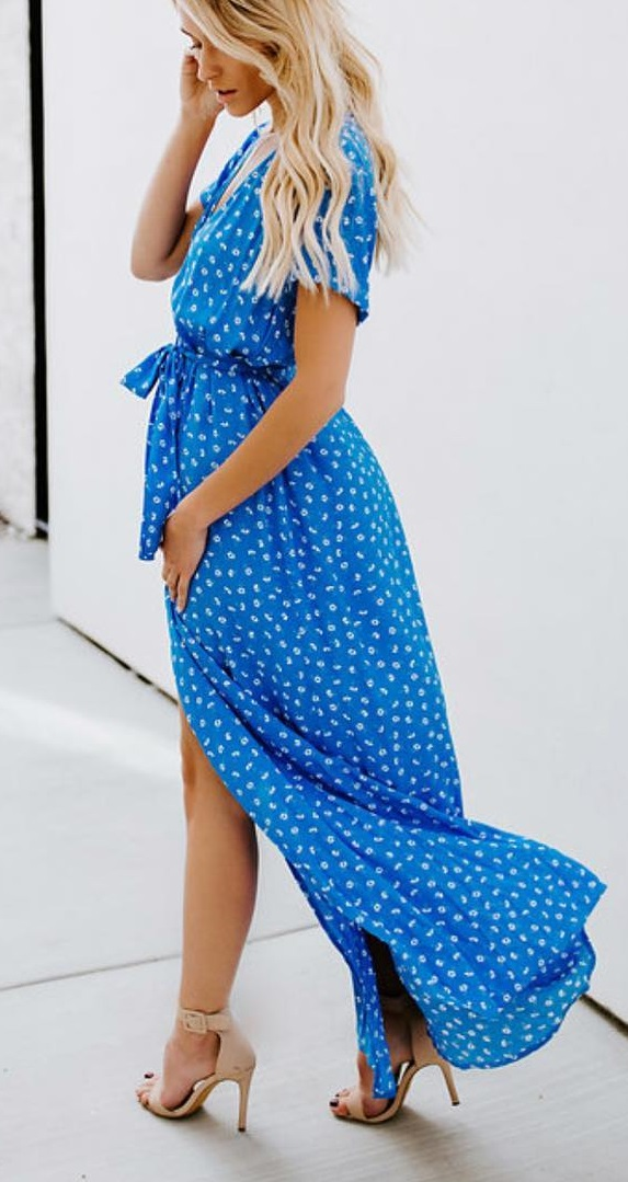 Blue Wrap Maxi Dress With High Heels