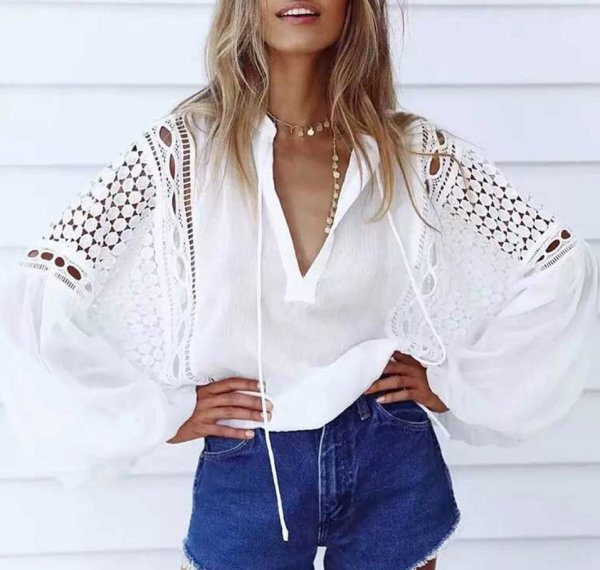 Boho Style White Top And Denim Shorts