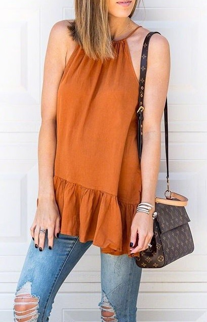 Breezing Halter Neck Top And Distressed Jeans