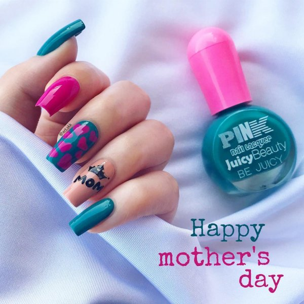 Bright Pink And Blue Nails With Heart And Crown For Your loving Mother