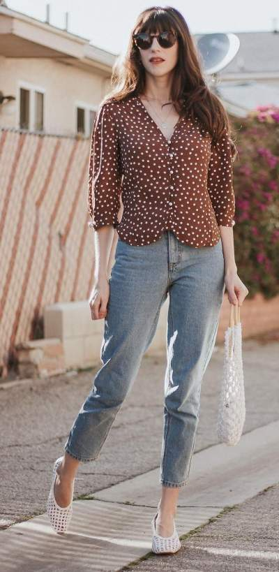 Brown Polka Dots Shirt, Jeans, White Flats & Handbag
