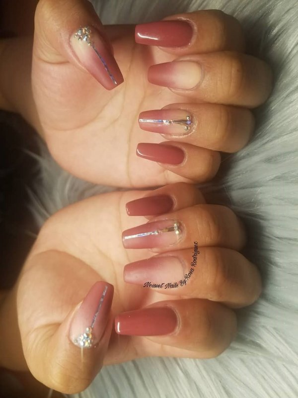 Brown shinning Ombre Swarovski Nails