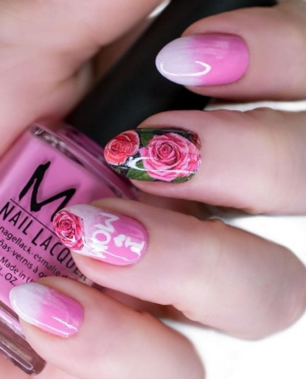 Celebrate Mother's Day With This Pink Floral Nails