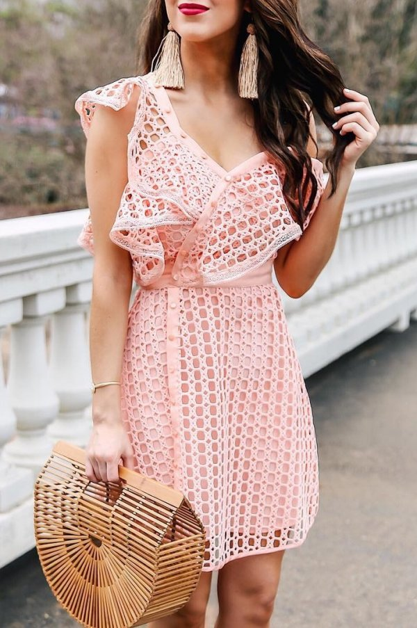 Charismatic Peach Ruffle Dress With Matching Earrings And Straw Bag