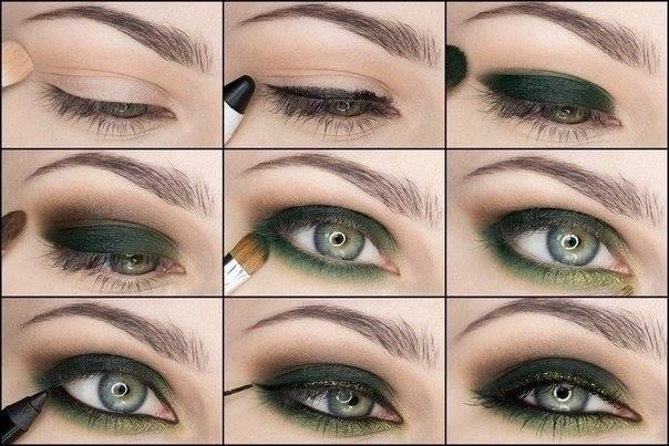 Chic Green Smoky Eye Makeup for Green Eyes