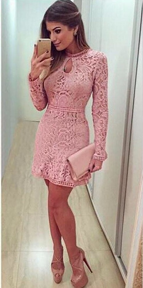 Chic Pink Hollow Lace Party Dress, High Heels And Clutch
