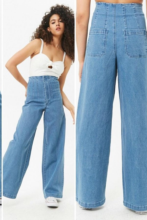 Classic High Waist Loose Jeans With Spaghetti Top
