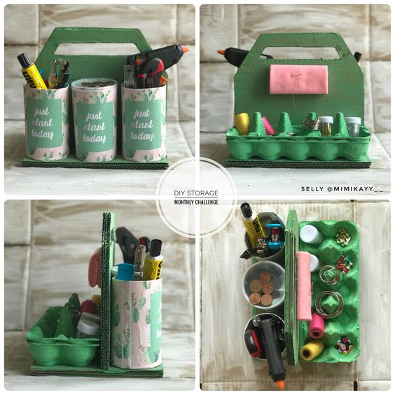 Color Egg Carton And Used To Hold Sewing Stuff