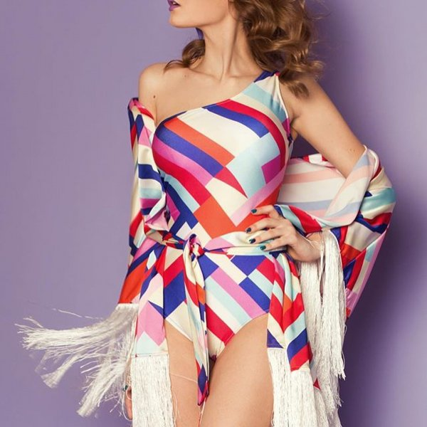 Colorful One Shoulder Monokini With Cover-up