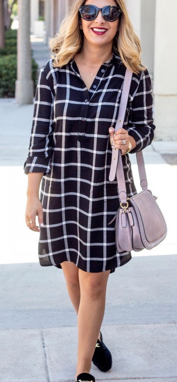 Comfy Black Check Outfit, Black Belly And Crossbody Bag