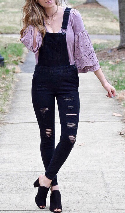 Cozy Bell Sleeves Top With Overalls