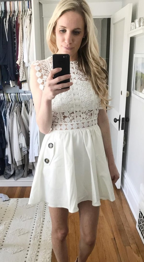 Cue Off-White Lace Short Dress For Summers