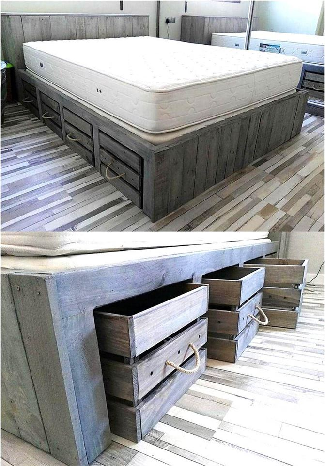 Customize Pallet Bed With Extra Storage