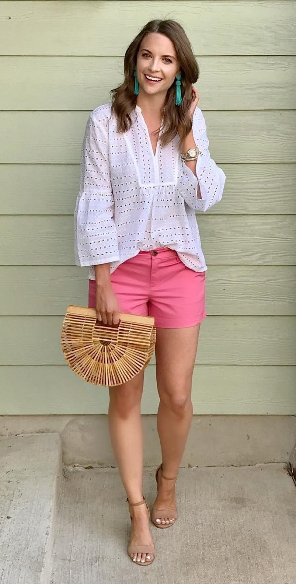 Cute Pink Shorts, Ruffle Sleeves White Top, High Heels And Turquoise Earrings